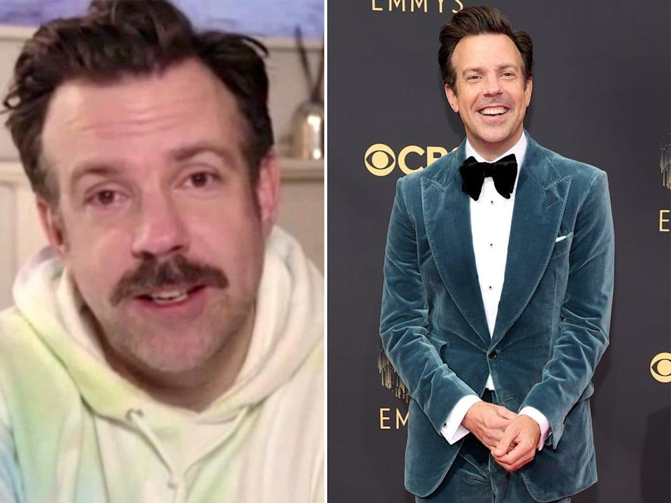 A side-by-side of Jason Sudeikis at the Golden Globes and Emmys.