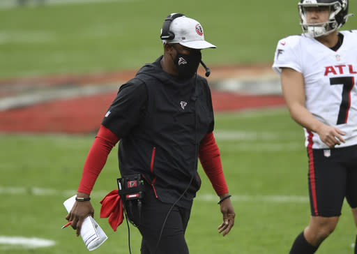 Atlanta Falcons head coach Raheem Morris during the second half of an NFL football game against the Tampa Bay Buccaneers Sunday, Jan. 3, 2021, in Tampa, Fla. (AP Photo/Jason Behnken)