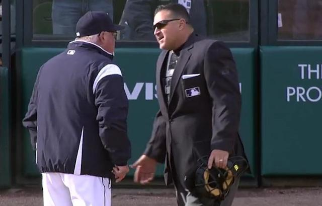 Tigers manager Ron Gardenhire gets his money's worth after being ejected in his team's season-opening loss to the Pirates. (MLB.TV)