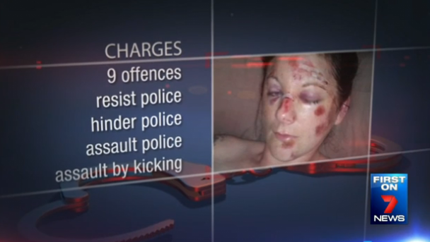 Police charged Ms Sherwood with nine offences including resisting, hindering and assaulting police, assault by kicking and aggravated assault.
