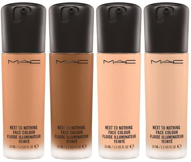 "<p>Just like the name suggests, this foundation feels like next to nothing on your skin and your pores actually have room to breathe behind it. Plus, it is formulated with light-reflecting opalescent microspheres to give you an all-over sun-kissed glow that's sexy. (<a href=""http://www.maccosmetics.com/product/13847/47402/products/makeup/face/foundation/next-to-nothing-face-colour"" rel=""nofollow noopener"" target=""_blank"" data-ylk=""slk:$31"" class=""link rapid-noclick-resp"">$31</a>, maccosmetics.com)(Photo: MAC Cosmetics) </p>"