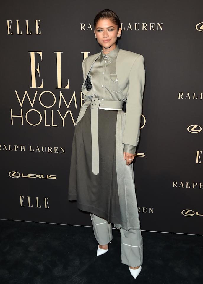 Decked out in silver, Zendaya looked totally stylish in this suit jacket and pant combo.