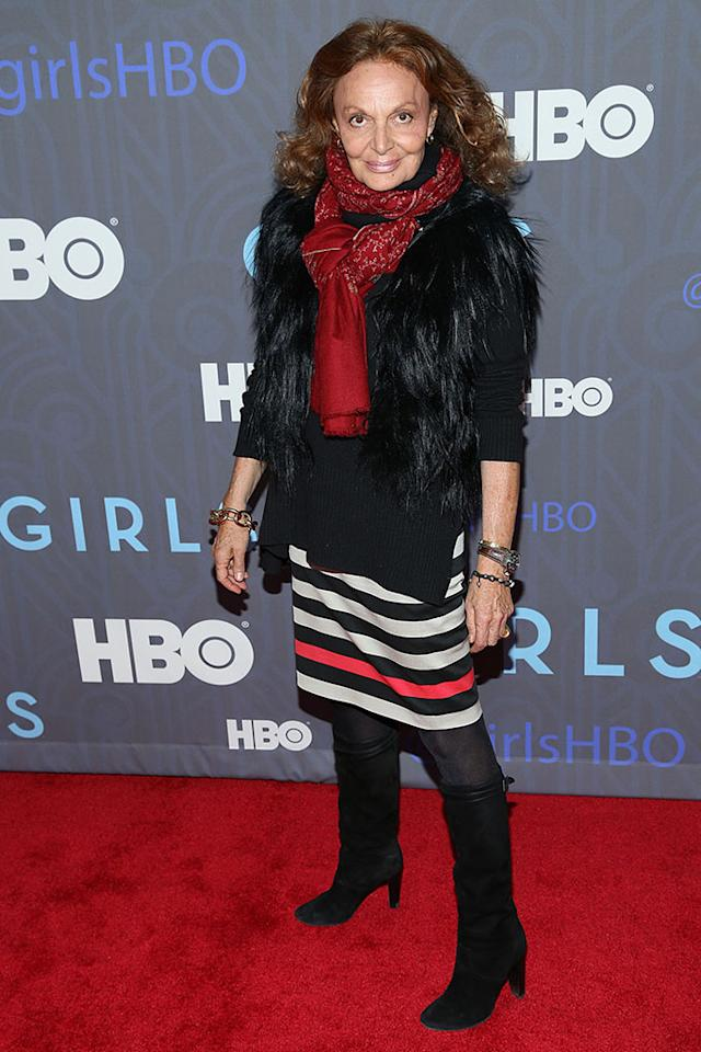 "Diane Von Furstenberg attends HBO's premiere of ""Girls"" Season 2 at the NYU Skirball Center on January 9, 2013 in New York City."