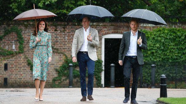 PHOTO: Britain's Prince William, Kate, Duchess of Cambridge and Prince Harry arrive for an event at the memorial garden in Kensington Palace, London, Aug. 30, 2017. (Kirsty Wigglesworth/AP)