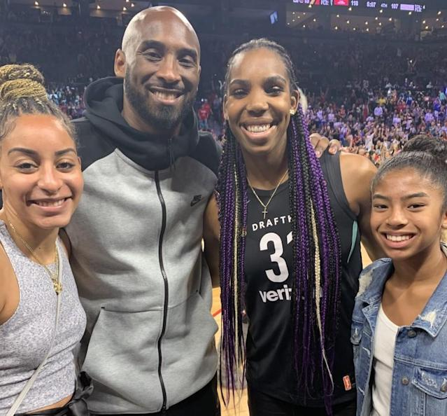 WNBA player Bria Hartley, Kobe Bryant, Reshanda Gray and Gianna Bryant pose for a photo at 2019 WNBA All-Star Weekend. (Photo courtesy of Reshanda Gray)