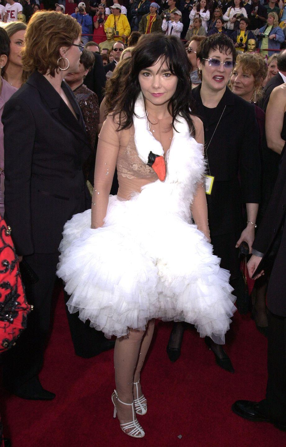 """<p>Ah, the swan dress. This was one of the more memorable and puzzling style choices ever to grace the red carpet. TV fashion critic Steven Cojocaru <a href=""""https://www.independent.co.uk/life-style/fashion/features/bjork-s-infamous-swan-dress-now-honoured-moma-museum-almost-15-years-later-a132236.html"""" rel=""""nofollow noopener"""" target=""""_blank"""" data-ylk=""""slk:reportedly said"""" class=""""link rapid-noclick-resp"""">reportedly said</a> it was """"one of the dumbest things I've ever seen"""" and Joan Rivers said that Björk """"should be put in an asylum."""" But as <a href=""""https://www.vice.com/en/article/rdxd7r/bjrk-the-history-and-style-of-a-music-maverick"""" rel=""""nofollow noopener"""" target=""""_blank"""" data-ylk=""""slk:Björk herself"""" class=""""link rapid-noclick-resp"""">Björk herself</a> said: """"It's just a dress.""""</p>"""
