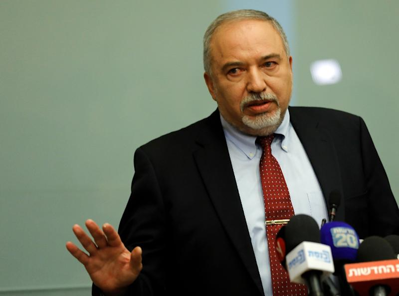 Avigdor Lieberman speaks during a news conference at Israel's parliament on November 14, 2018 when he resigned as defence minister