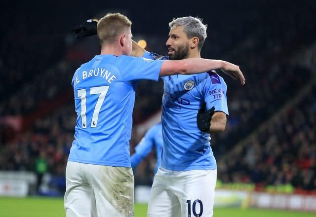 De Bruyne (left) has provided six assists for Sergio Aguero (right) (Mike Egerton/PA)