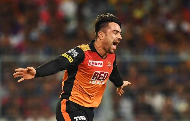 Afghan spinner Rashid Khan of Sunrisers Hyderabad has become one of the hottest properties in cricket (AFP Photo/Dibyangshu SARKAR)