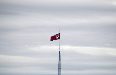 A North Korean flag flutters on top of a 160-metre tower in North Korea's propaganda village of Gijungdong in this