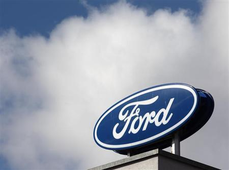 The Ford logo is pictured on the rooftop of Austria's Ford head branch in Vienna