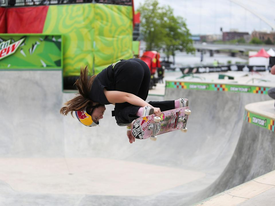 Skateboarder Brighton Zeuner at the Dew Tour in Des Moines Iowa before the olympic games