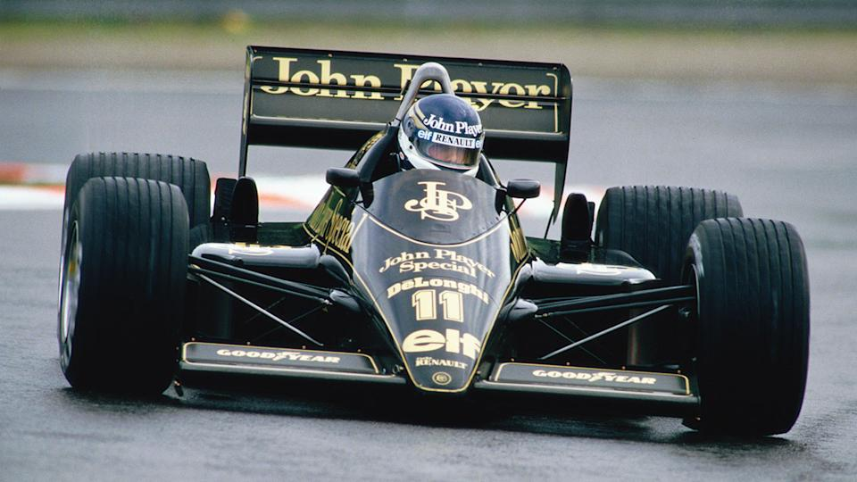 Johnny Dumfries is pictured here driving his Lotus at the Belgium Grand Prix of 1986.