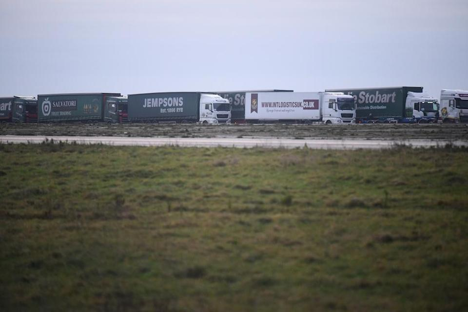 Lorries begin to line up during the trial (Picture: PA)