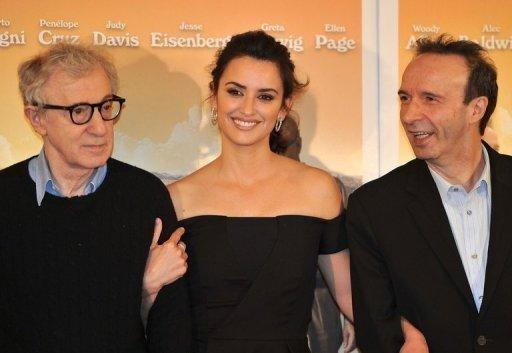 "From L: US film director Woody Allen, Spanish actress Penelope Cruz and Italian actor Roberto Benigni pose during the photocall for ""To Rome With Love"" at a hotel in Rome. The film, which premieres Friday, revives the ""Dolce Vita"" movie star heyday of the Eternal City"
