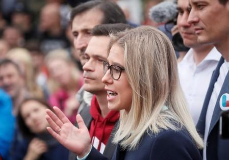 Opposition figure Lyubov Sobol speaks at a rally in Moscow