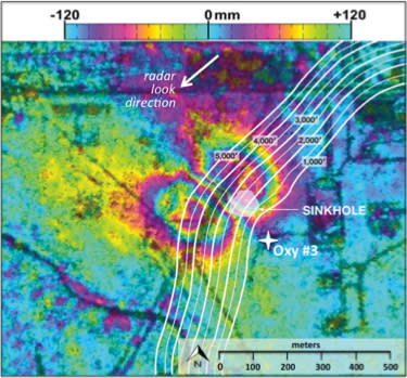 Surface deformation relative to location and size of Bayou Corne sinkhole, as measured by NASA's radar imaging aircraft.