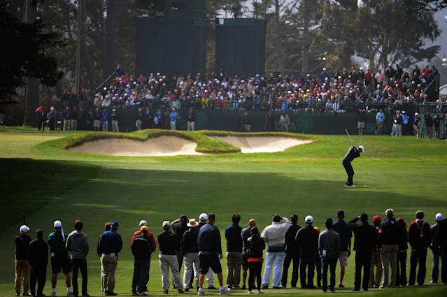 SAN FRANCISCO, CA - JUNE 14: Tiger Woods of the United States hits a shot on the 16th hole during the first round of the 112th U.S. Open at The Olympic Club on June 14, 2012 in San Francisco, California. (Photo by Harry How/Getty Images)