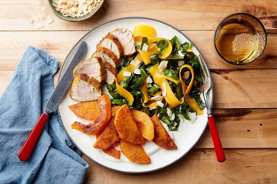 """You'll use butternut squash two ways in this delightful recipe: shaved into a Southeast Asian–inspired salad and roasted with pork until caramelized and tender. <a href=""""https://www.epicurious.com/recipes/food/views/pork-tenderloin-with-turmeric-squash-and-collard-greens-salad?mbid=synd_yahoo_rss"""" rel=""""nofollow noopener"""" target=""""_blank"""" data-ylk=""""slk:See recipe."""" class=""""link rapid-noclick-resp"""">See recipe.</a>"""