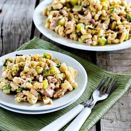 """<strong><a href=""""https://kalynskitchen.com/tuna-macaroni-salad-dill-pickles-capers/"""" target=""""_blank"""" rel=""""noopener noreferrer"""">Get theTuna and Macaroni Salad with Dill Pickles, Capers and Green Onions recipe from Kalyn's Kitchen</a></strong>"""