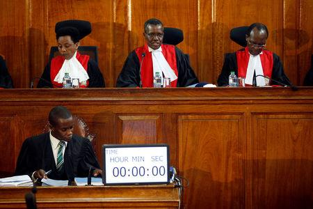 Kenya's Supreme Court judges attend a hearing regarding petitions challenging the result of the presidential election rerun at Kenya's Supreme Court in Nairobi