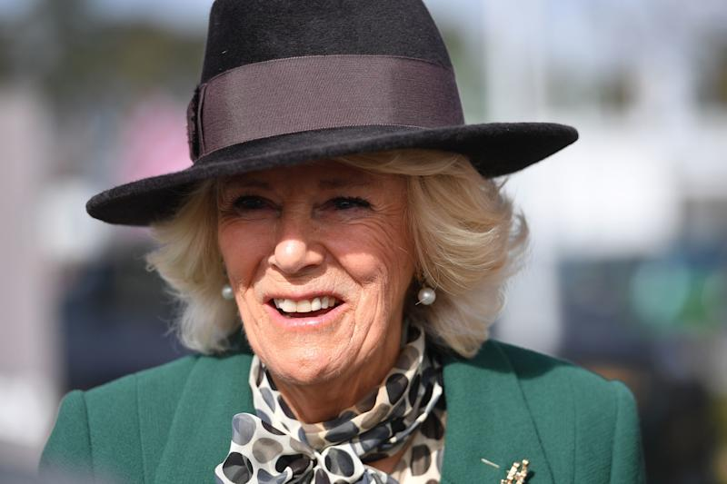 CHELTENHAM, ENGLAND - MARCH 11: Camilla, The Duchess of Cornwall attends Ladies Day at the Cheltenham Festival at Cheltenham Racecourse on March 11, 2020 in Cheltenham, England (Photo by Jacob King - WPA Pool/Getty Images)