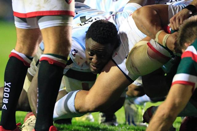 Racing 92's French flanker Yannick Nyanga in the scrum during the European Champions Cup rugby union pool match between Leicester Tigers and Racing 92 at Welford Road in Leicester, central England, on October 23, 2016 (AFP Photo/Lindsey PARNABY)