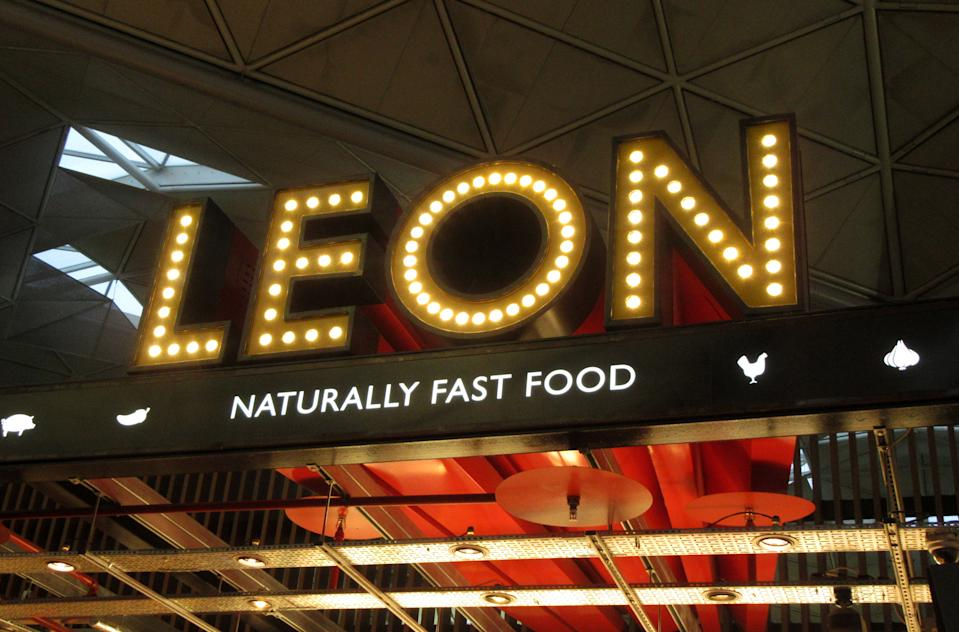 LONDON STANSTED, UNITED KINGDOM - 2019/09/29: Leon signage and logo seen at their restaurant in London Stansted Airport. (Photo by Keith Mayhew/SOPA Images/LightRocket via Getty Images)