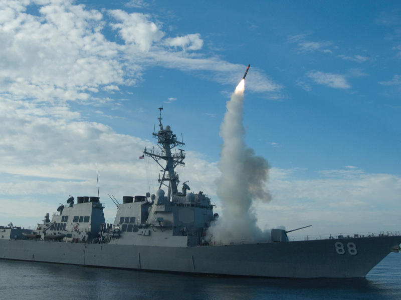 A US destroyer launches a Tomahawk missile. The US Navy launched 59 such missiles in a military strike against Syria last week: AFP