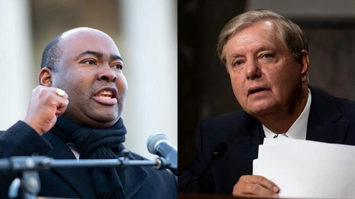 """(L) U.S. senate candidate Jaime Harrison speaks to the crowd during the King Day celebration at the Dome March and rally on January 20, 2020 in Columbia, South Carolina. (Photo by Sean Rayford/Getty Images) (R)Committee Chairman Sen. Lindsey Graham (R-SC) speaks during a Senate Judiciary Committee hearing on """"Oversight of the Crossfire Hurricane Investigation"""" on Capitol Hill on August 5, 2020 in Washington, DC. (Photo by Erin Schaff-Pool/Getty Images)"""
