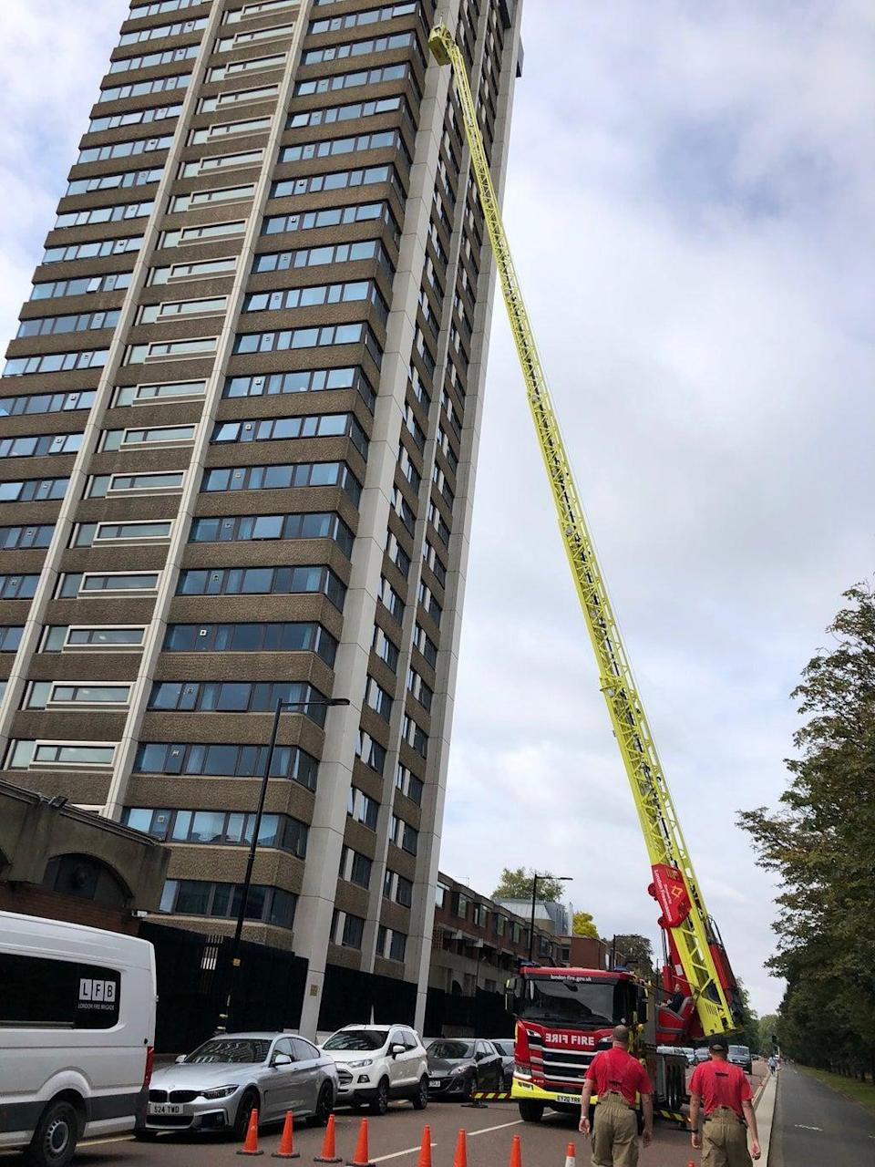 Blowing in the wind: firefighters say the top of the ladder moves in the wind (Ross Lydall)