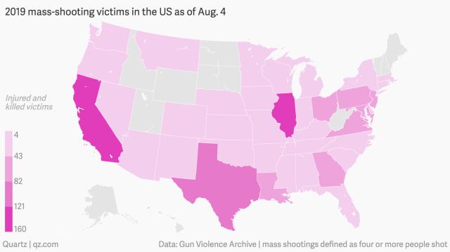 The 292 mass shootings in the US so far this year, mapped