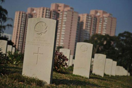 The gravestone of Canadian Brigadier John Kelburne Lawson, the senior officer of the Canadian garrison during the Battle of Hong Kong, is seen at the Hong Kong Sai Wan War Cemetary. Christmas is a day of sombre remembrance for veterans of the World War II battle of Hong Kong, which fell to the Japanese on this day 70 years ago after 18 days of desperate fighting