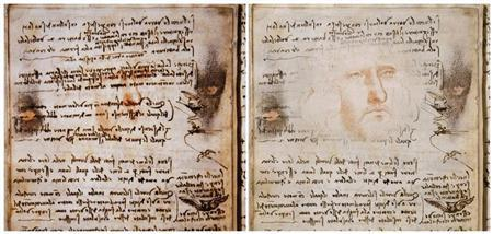 "A detail of a page of the Leonardo da Vinci's ""Codex of the Flight of Birds"" (L) and a sketch made by RAI's graphic department are seen in this combo picture in Rome"