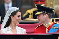 """<p>Kate's earrings for the wedding day - and possibly counting as her 'something new' - were a gift from her parents Carole and Michael Middleton. </p><p>What's more meaningful is that jewellers Robinson Pelham took the inspiration for the design from the Middleton family crest, which includes acorns and oak leaves. </p><p>The diamond earrings featured """"stylised oak leaves with a pear-shaped diamond set drop and a pavé-set diamond acorn suspended in the centre,"""" according to the royal family.</p>"""