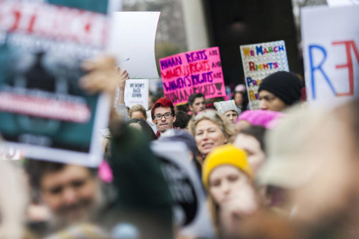 <p>Protesters attend the Women's March on Washington, Jan. 21, 2017, in Washington, D.C. (Jessica Kourkounis/Getty Images) </p>