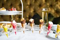 """<p>Ice cream makes for the perfect summer treat. <a rel=""""nofollow noopener"""" href=""""https://www.dorchestercollection.com/en/london/the-dorchester/restaurant-bars/afternoon-tea/"""" target=""""_blank"""" data-ylk=""""slk:The Dorchester"""" class=""""link rapid-noclick-resp"""">The Dorchester</a> has gone one step further by incorporating the ice-cold delight into their brand new afternoon tea. As well as the usual sweet and savoury selection, you can enjoy mini cones full of unusual ice cream flavours and fruity sorbets. Available until 31 August.<br><i>[Photo: The Dorchester Collection]</i> </p>"""