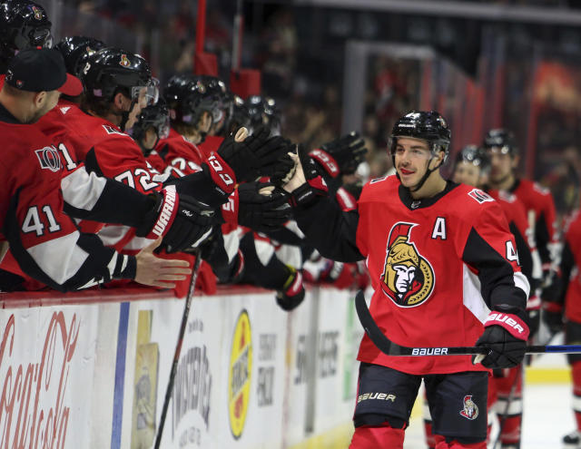 Ottawa Senators Jean-Gabriel Pageau (44) celebrates his goal against the Carolina Hurricanes during first period NHL hockey action in Ottawa, Saturday Nov. 9, 2019. (Fred Chartrand/The Canadian Press via AP)
