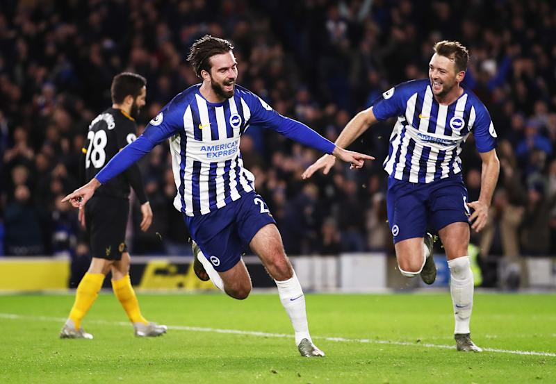 BRIGHTON, ENGLAND - DECEMBER 08: Davy Propper of Brighton and Hove Albion celebrates with teammate Dale Stephens after scoring his team's second goal during the Premier League match between Brighton & Hove Albion and Wolverhampton Wanderers at American Express Community Stadium on December 08, 2019 in Brighton, United Kingdom. (Photo by Bryn Lennon/Getty Images)