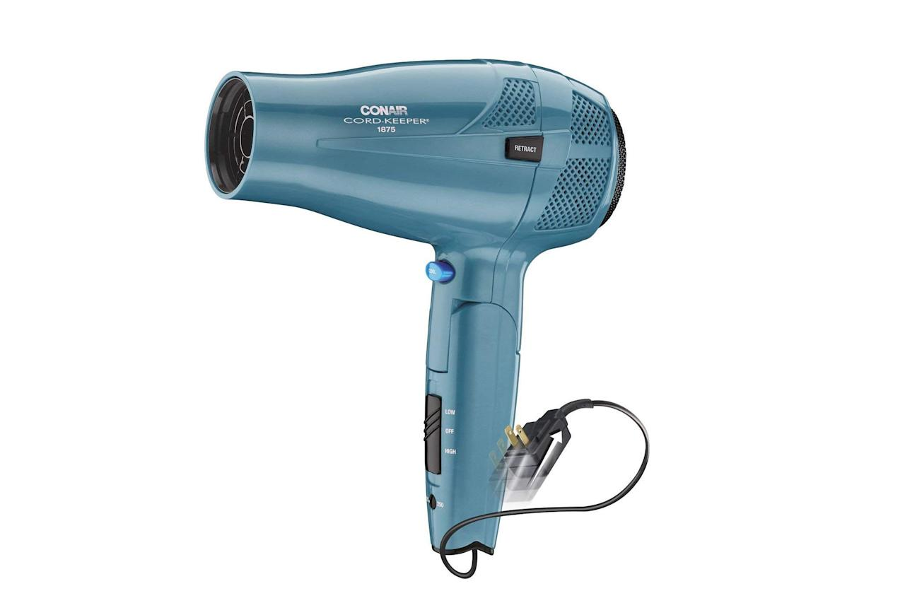 """<p><b>BUY IT: $15; <em><a href=""""http://amzn.to/2ggAark"""" target=""""_blank"""">amazon.com</a></em></b></p> <p>Quite possibly our favorite hair dryer to ever hit the beauty shelves. Not only is it lightweight, efficient, and easy on the budget, its retractable cord and foldable arm make it great for packing in a suitcase or neatly storing under the sink.</p>"""