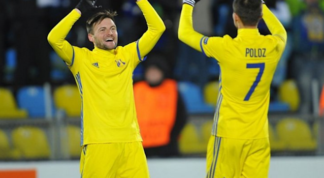 Russian side FC Rostov celebrate their 4-0 win