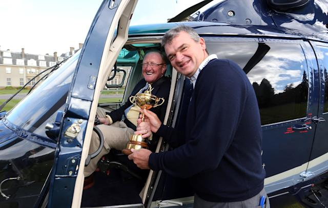 AUCHTERARDER, SCOTLAND - OCTOBER 03: Paul Lawrie of Scotland and Richard Hills, Ryder Cup Director during the offical handover of the Ryder Cup to The Gleneagles Hotel, the hosts of the 2014 event, at Gleneagles on October 3, 2012 in Auchterarder, Scotland. (Photo by Ross Kinnaird/Getty Images)
