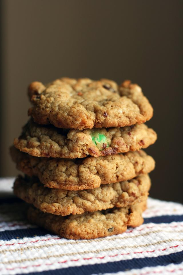 """<p>There's a lot happening in this <a href=""""https://www.popsugar.com/food/Presidential-Cookie-Recipe-25556846"""" class=""""ga-track"""" data-ga-category=""""Related"""" data-ga-label=""""http://www.yumsugar.com/Presidential-Cookie-Recipe-25556846"""" data-ga-action=""""In-Line Links"""">combo cookie recipe</a>, including mint, peanut butter, M&amp;M's, oatmeal, and chocolate chips. But trust us- the weirdness works. </p>"""