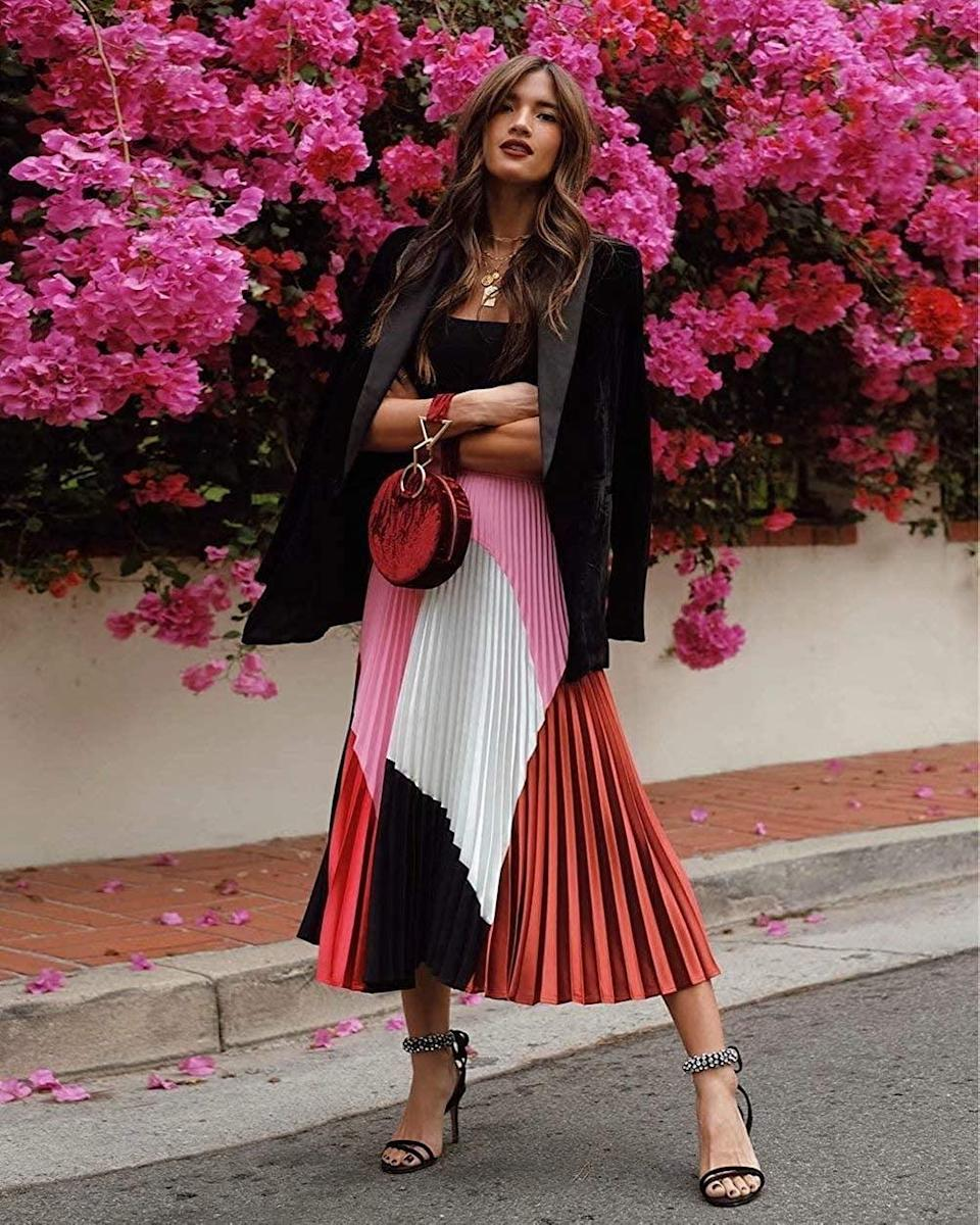 <p>The <span>ThusFar Women's Graffiti Pleated Skirts Elastic Waist A-Line Swing Midi Skirt</span> ($29) is a stunning Instagram-worthy find that will pop on the grid. It comes in a variety of different prints and patterns. </p>