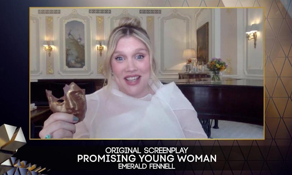 Emerald Fennell with her chocolate Bafta.