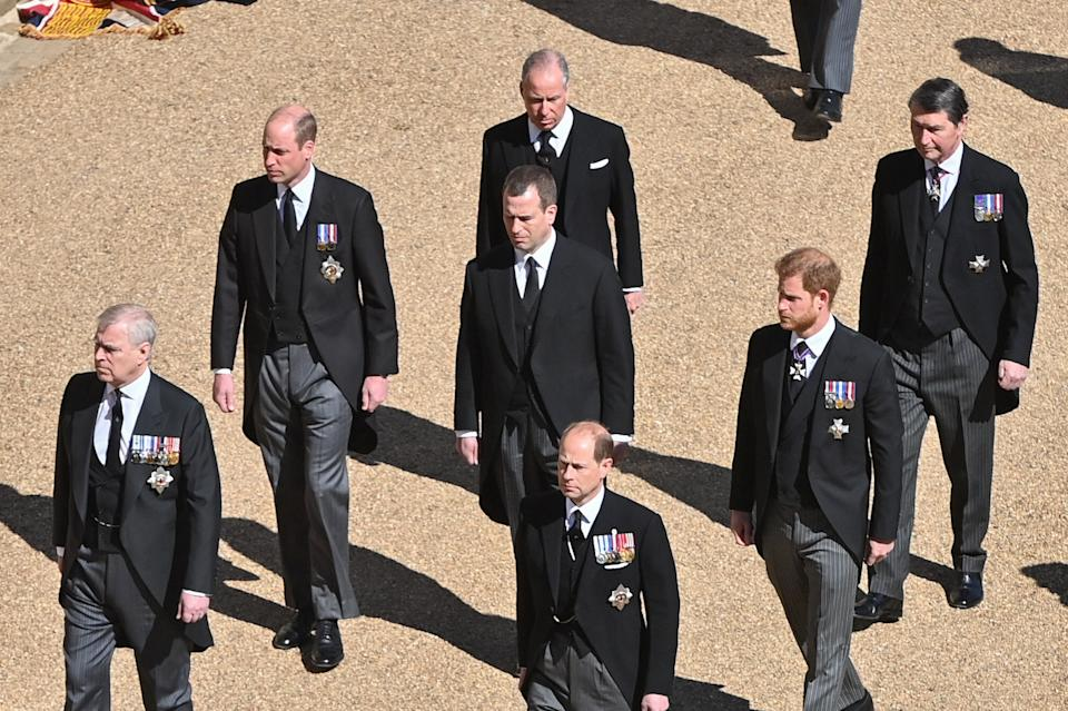 WINDSOR, ENGLAND - APRIL 17:  (L-R) Prince Andrew, Duke of York,  Prince William, Duke of Cambridge, Prince Edward, Earl of Wessex,  Peter Phillips, Earl of Snowdon David Armstrong-Jones, Prince Harry, Duke of Sussex and Vice-Admiral Sir Timothy Laurence during the funeral of Prince Philip, Duke of Edinburgh on April 17, 2021 in Windsor, England. Prince Philip of Greece and Denmark was born 10 June 1921, in Greece. He served in the British Royal Navy and fought in WWII. He married the then Princess Elizabeth on 20 November 1947 and was created Duke of Edinburgh, Earl of Merioneth, and Baron Greenwich by King VI. He served as Prince Consort to Queen Elizabeth II until his death on April 9 2021, months short of his 100th birthday. His funeral takes place today at Windsor Castle with only 30 guests invited due to Coronavirus pandemic restrictions. (Photo by Samir Hussein - Pool/Wireimage)