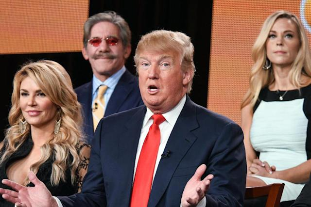 "<p>From left, Brandi Glanville, Geraldo Rivera, Trump and Kate Gosselin onstage for a ""Celebrity Apprentice"" panel at the NBC 2015 Winter TCA on Jan. 16, 2015, in Pasadena, Calif. <i>(Photo: Richard Shotwell/Invision/AP)</i> </p>"