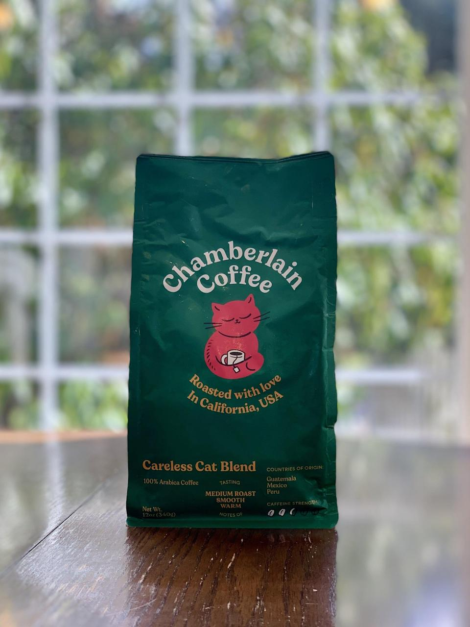 "<p><strong>Basic info:</strong> Medium roast described as ""smooth"" and ""warm.""</p> <p>The <a href=""https://chamberlaincoffee.com/products/careless-cat-blend"" class=""link rapid-noclick-resp"" rel=""nofollow noopener"" target=""_blank"" data-ylk=""slk:Careless Cat Blend"">Careless Cat Blend</a> is the coffee for tea-lovers. Spiced and aromatic, it nearly reminded me of a chai latte. My first impression is in line with the tasting notes, as described by the brand: ""toasted almonds, semi-sweet chocolate, butterscotch candy, and raisin.""</p>"