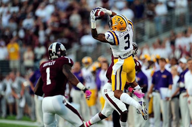 STARKVILLE, MS - OCTOBER 05: Odell Beckham Jr. #3 of the LSU Tigers goes up for a reception in front of Nickoe Whitley #1 of the Mississippi State Bulldogs during a game at Davis Wade Stadium on October 5, 2013 in Starkville, Mississippi. LSU won the game 59-26. (Photo by Stacy Revere/Getty Images)