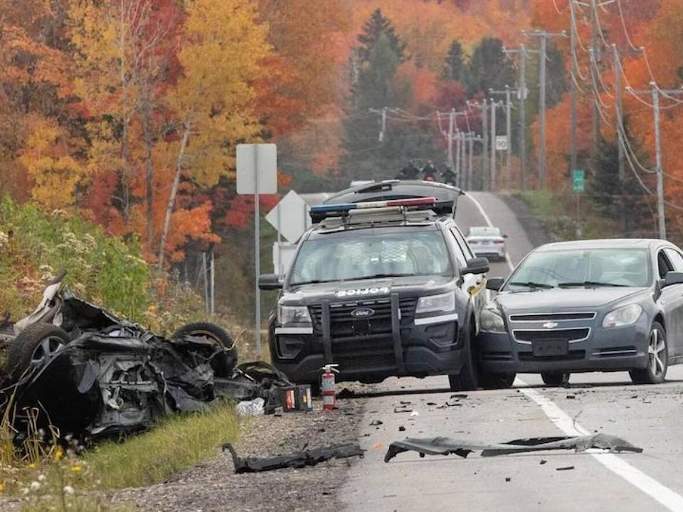 The pursuit ended when the suspect's vehicle collided with another car on Route 365 in Saint-Basile, Que. (Steve Jolicoeur/Radio-Canada - image credit)